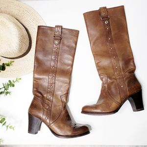 Frye Leather Heeled Round Western Riding Boots